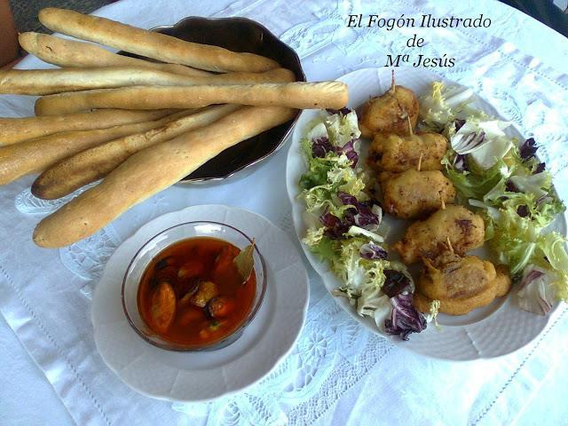 aperitivo-con-fajicos-de-la-rivera-mejillones-en-escabeche-y-colines-de-semillas