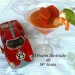 Gazpacho con brocheta de langostino