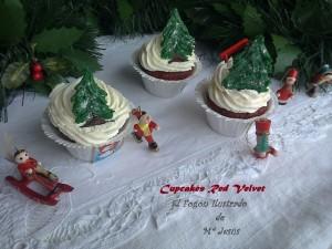 Cupcakes de Red Velvet con Glaseado de Trufa blanca 001