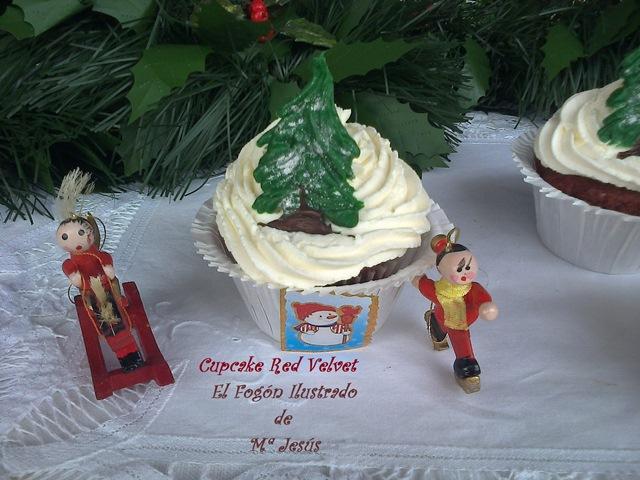 Cupcakes de Red Velvet con Glaseado de Trufa blanca 002