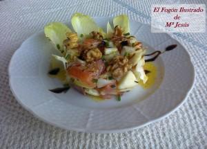 Ensalada dulce de Endivias, Salmon y frutos secos 003