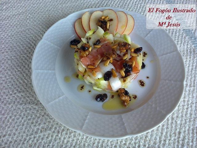 Ensalada dulce de Endivias, Salmon y frutos secos 006