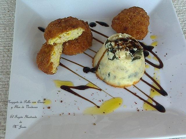 Nuggets de Pollo con queso y Flan de Verduras