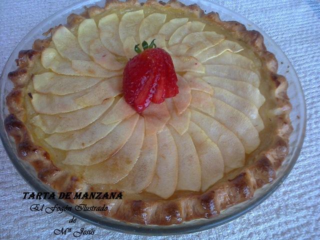 Tarta de manzana con masa quebrada y crema pastelera