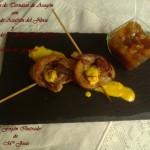 Piruletas de Ternasco de Aragón con Salsa de Azafrán del Jiloca y Chutney de Melocotón de Calanda y Cebolla de Fuentes