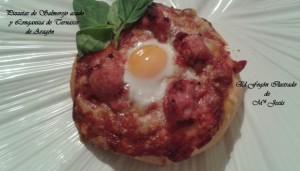 Pizzetas de salmorejo asado y Longaniza de Ternasco 030