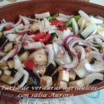 Tarta de verduras agridulces al horno con salsa Aurora