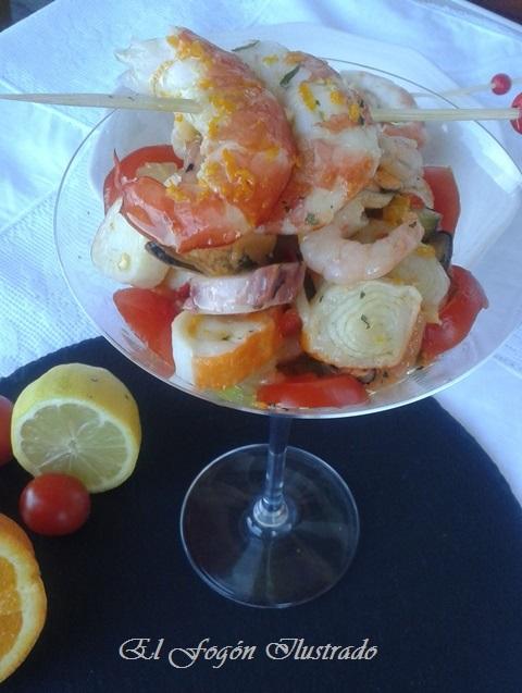 Ensalada de Salpicon con vingreta de naranja