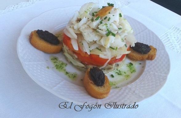 Escalibada con Bacalao confitado y tostadas con olivada de Borja