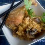 Pollo con champiñones estilo oriental