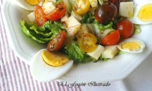 Ensalada de cogollos de Tudela, cherrys y queso de Mahón (4)