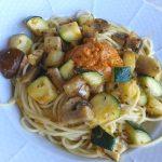 Espaguetti con Calabacín y setas variadas