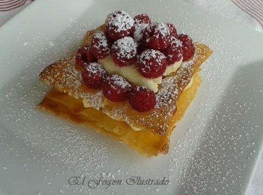 Mil Hojas de Pasta Brick con crema Pastelera y Frambuesas (6)