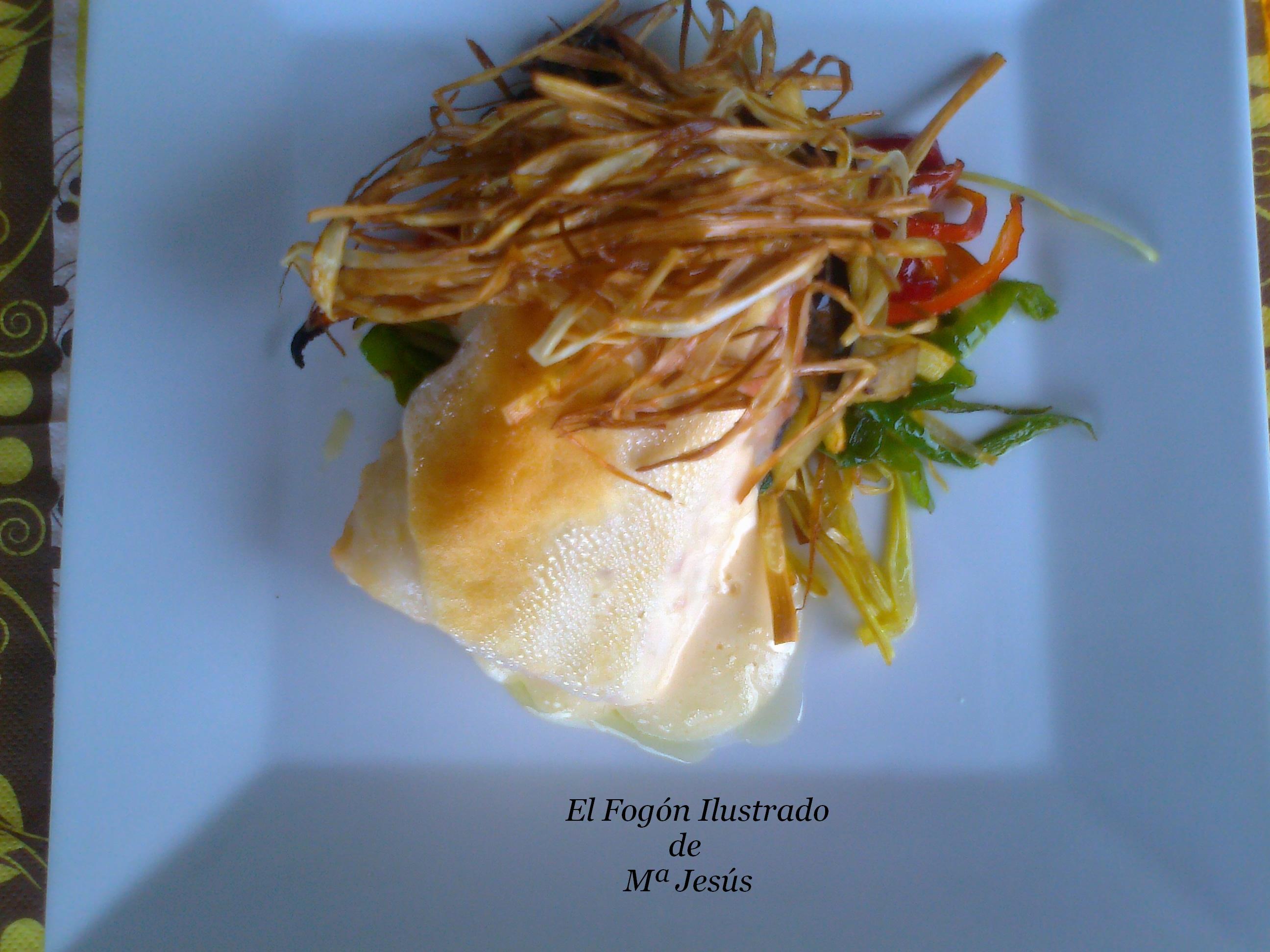 Lomo de bacalao con verduritas y muselina de ajo