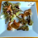 Ensalada de alcachofas con gambas