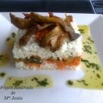 Arroz de verduras con salsa de piquillos