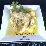 Patatas con bacalao fresco en salsa verde