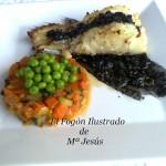 Skrei con verduritas y salsa de tinta de calamar