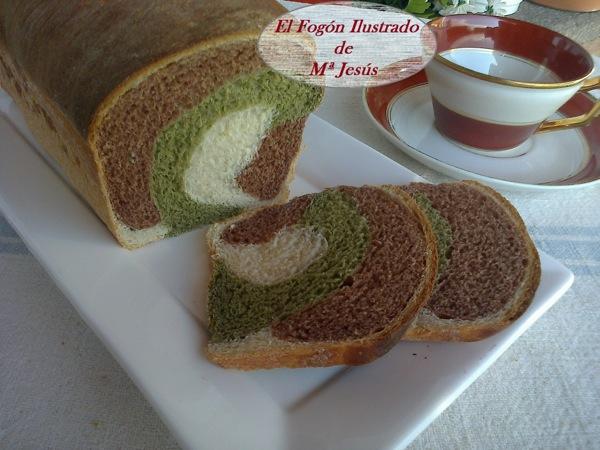 Pan tricolor de Cacao y Te Matcha