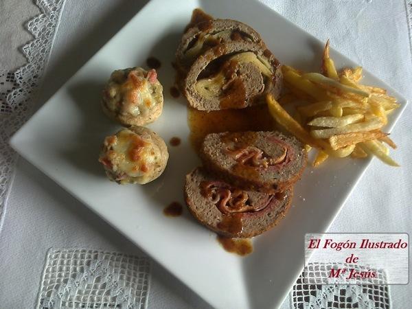 Rollo de carne con manzana y foie